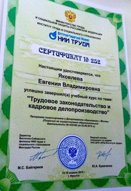 Сертификат ВСФ НИИ труда
